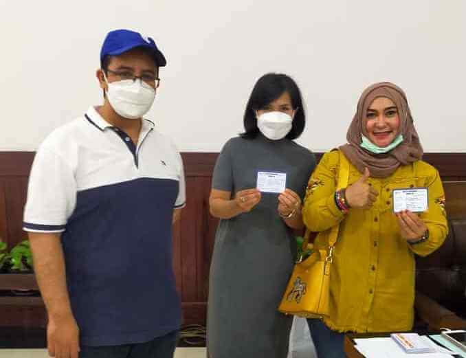 Fraksi Gerindra DPRD Kota Malang usai vaksinasi. (Foto dok.)
