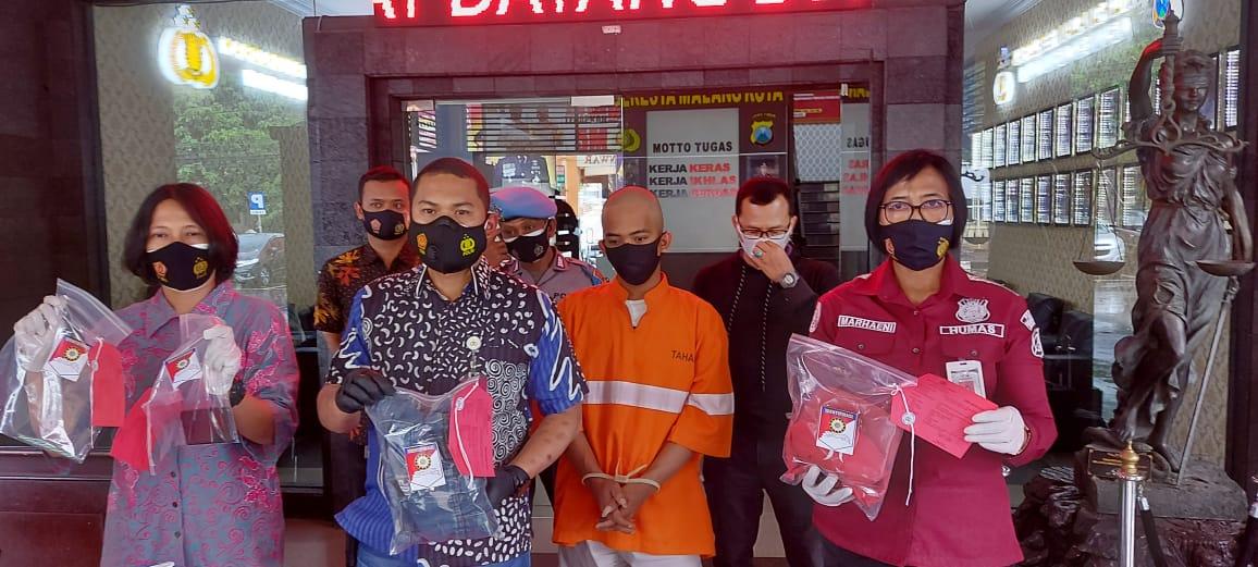 Pelaku penganiayaan tunangan yang viral di Malang kini digunduli dan ditangkap polisi. Foto/Azmy.