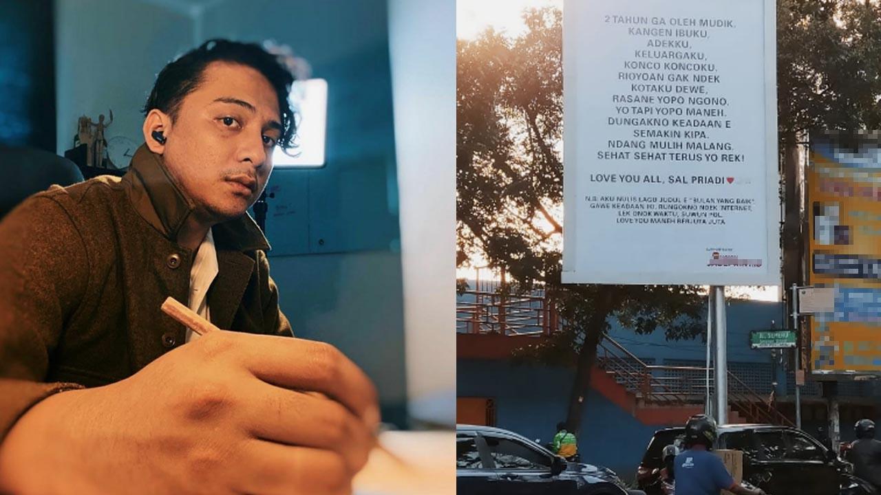 Papan reklame isi surat rindu Sal Priadi di sudut Jalan Semeru Stadion Gajayana Kota Malang.