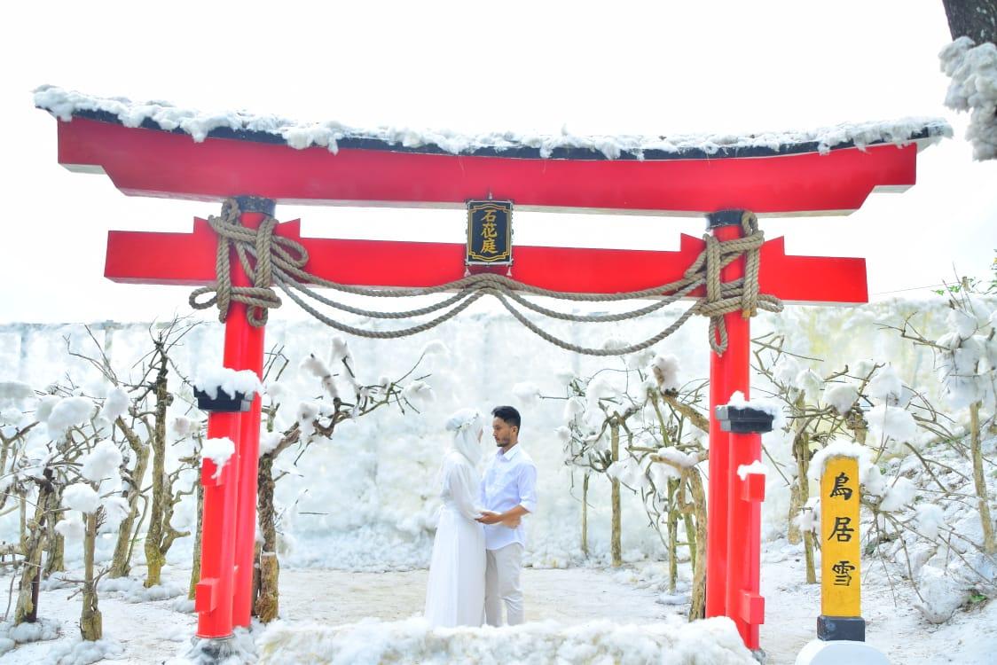 Wahana toriyuki dengan latar salju (Batu Flower Garden)